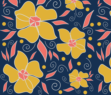 Coral limited palette challenge fabric by rachr on Spoonflower - custom fabric