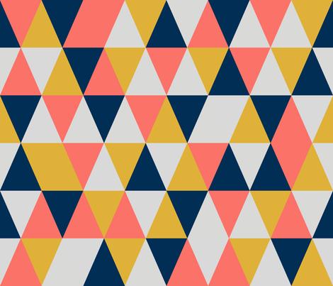 medium origami coral + midnight blue + gold + grey fabric by studiocharm on Spoonflower - custom fabric