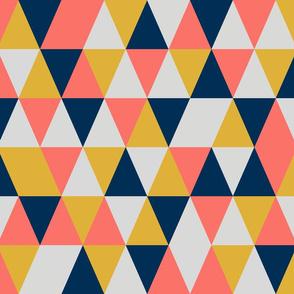 medium origami coral + midnight blue + gold + grey