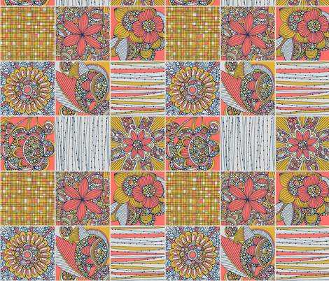 Coral Tiles fabric by valentinaharper on Spoonflower - custom fabric