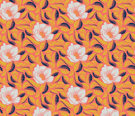 Floral in Coral fabric by kelsey_krzmarzick_design on Spoonflower - custom fabric