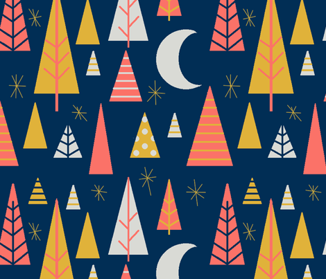 night in the triangular forest fabric by the_kitten_is_in on Spoonflower - custom fabric