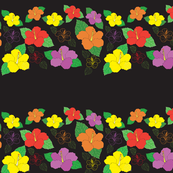 1015_Flower_Hibiscus_Multi Color Flowers_Black Background_ repeat  pattern_trimmed_1 Block.fw