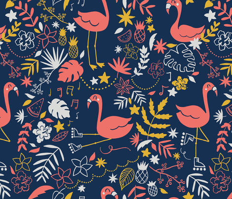 Let's  flamingo to the 80's fabric by natalia_gonzalez on Spoonflower - custom fabric