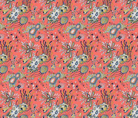 Fantasy World in Coral Color fabric by nellik on Spoonflower - custom fabric