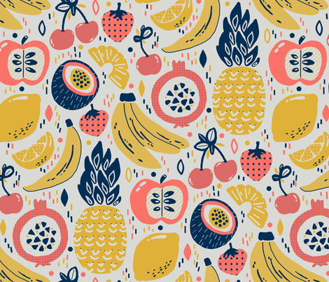 Funky Fresh Fruit (Large version) fabric by tigatiga on Spoonflower - custom fabric