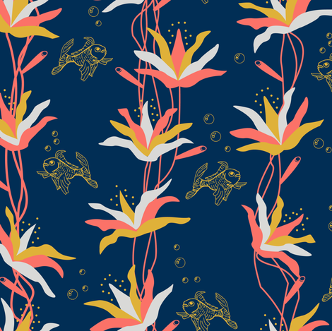 coral flowers fabric by nacaca on Spoonflower - custom fabric