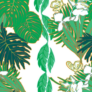 Tropical Greens Dark Green White