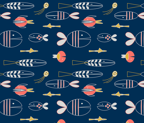 Geometric Fish (limited palette) fabric by space_tempo_design on Spoonflower - custom fabric