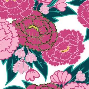 1038_Flowers_Peonies_Lt _ Dk.Pink Peonies_White background_ repeat pattern_ trimmed_1 Block.fw