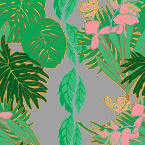 Tropical Greens Pink ginger Grey