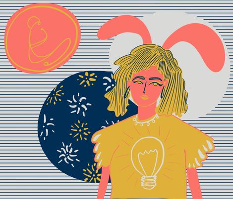 Bunny girl fabric by isio_rizado on Spoonflower - custom fabric