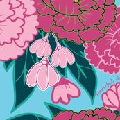 1039_Flowers_Peonies_Lt _ Dk.Pink Peonies_ PowInPink_Aqua background_ repeat pattern_ trimmed_1 Block.fw