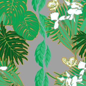 Tropical Greens White ginger Grey