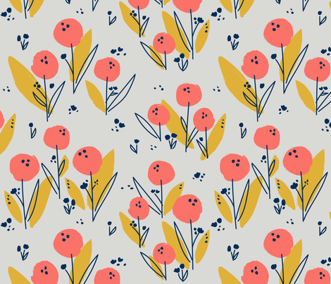 Poppy Meadow Coral fabric by petras_patterns on Spoonflower - custom fabric