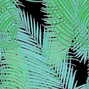 Palms Black Turquoise Green Pink