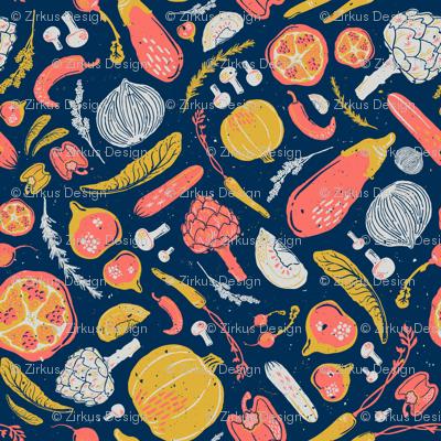 Farmer's Market Veggies in Living Coral, Goldenrod, Midnight Blue, & Gray // Artichoke, Fig, Pomegranate, Bell Pepper, Capsicum, Mushroom, Lettuce, Salad, Radish, Rosemary, Lavender, Carrot, Tomato, Jalapeno, Onion, Pumpkin, Squash, Eggplant // Healthy Li
