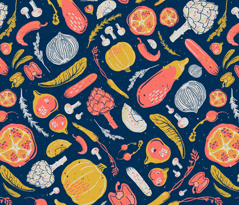 Farmer's Market Veggies in Living Coral, Goldenrod, Midnight Blue, & Gray // Artichoke, Fig, Pomegranate, Bell Pepper, Capsicum, Mushroom, Lettuce, Salad, Radish, Rosemary, Lavender, Carrot, Tomato, Jalapeno, Onion, Pumpkin, Squash, Eggplant // Healthy Li fabric by zirkus_design on Spoonflower - custom fabric