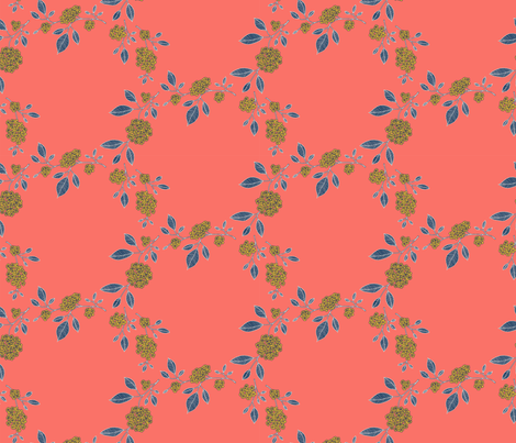 Sprigs // yellow and blue on coral fabric by okay_okay_design on Spoonflower - custom fabric