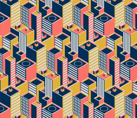 Geometric Coral City fabric by roofdog_designs on Spoonflower - custom fabric