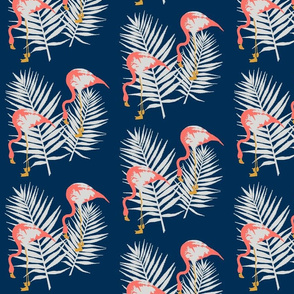 Flamingoes and Palm Leaves
