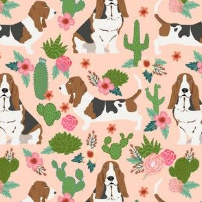 basset hound cactus floral fabric - dog fabric, basset hound fabric, cactus floral fabric, cactus fabric - peach