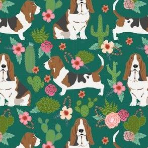 basset hound cactus floral 3