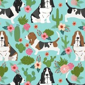 basset hound cactus floral fabric - dog fabric, basset hound fabric, cactus floral fabric, cactus fabric -  blue