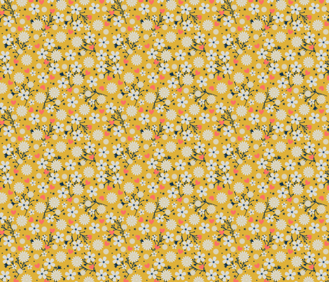 Dancing Blossom - Yellow fabric by merry_makewell_designs on Spoonflower - custom fabric