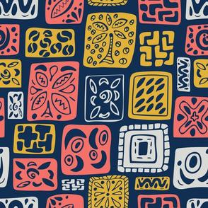 Little Boxes-Vintage-Limited palette: Coral 2019, Blue & Gold. Original  *large version