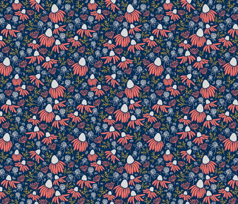 Coral Wildflowers fabric by emilywalkerartdesign on Spoonflower - custom fabric