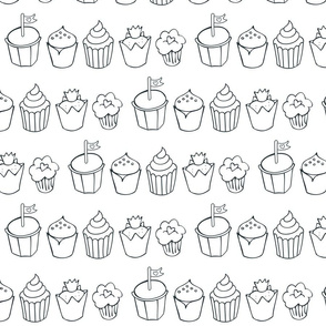 cupcakes in rows monochrome
