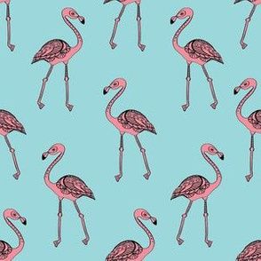 flamingo fabric - living coral, coral fabric, summer fabric, tropical fabric, preppy fabric, flamingo girl fabric - light blue