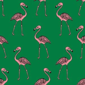 flamingo fabric - living coral, coral fabric, summer fabric, tropical fabric, preppy fabric, flamingo girl fabric - kelly green