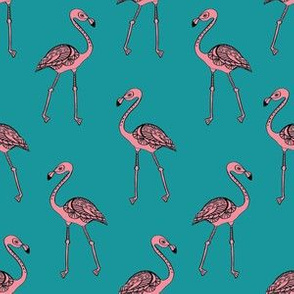 flamingo fabric - living coral, coral fabric, summer fabric, tropical fabric, preppy fabric, flamingo girl fabric - teal