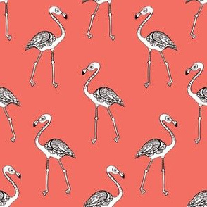 flamingo fabric - living coral, coral fabric, summer fabric, tropical fabric, preppy fabric, flamingo girl fabric - living coral