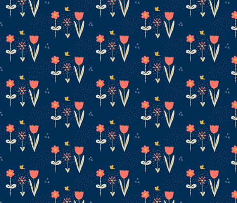 Pretty Posies Living Coral Limited Palette fabric by dreamoutloudart on Spoonflower - custom fabric