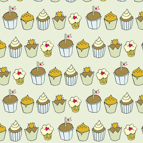 colorful cupcakes in rows