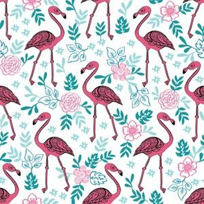 flamingo flower fabric - flamingo florals, tropical floral, summer fabric, flamingo fabric, tropical fabric, -  teal and pink