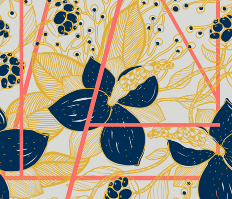 Living Coral Geo Jungle fabric by beanandtype on Spoonflower - custom fabric