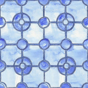 Blue Watercolor Tiles
