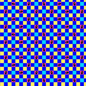 BLUE AND YELLOW CHECK WITH SEEDS