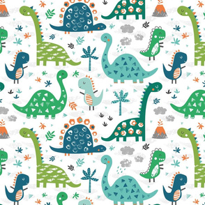 Dinosaurs Blue Green
