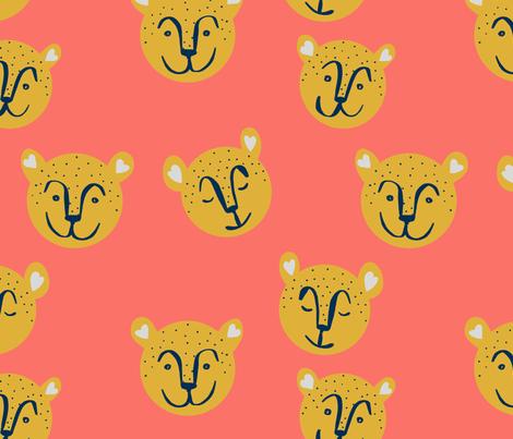 Hello Cheetahs on Coral fabric by taraput on Spoonflower - custom fabric
