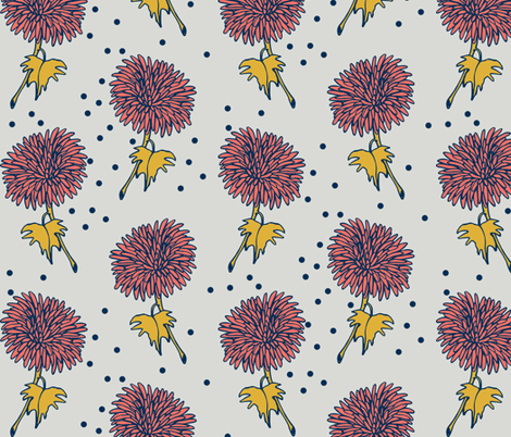 coral dahlia fabric by mrshervi on Spoonflower - custom fabric
