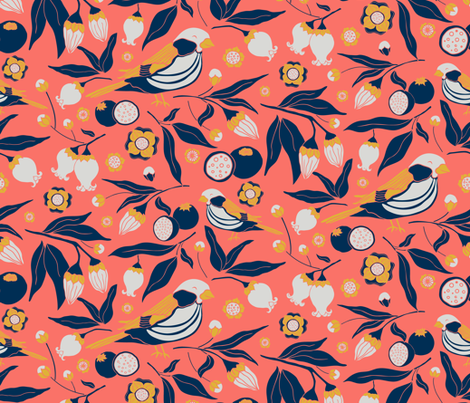 Blue Berries Pajaro fabric by aha_studio on Spoonflower - custom fabric