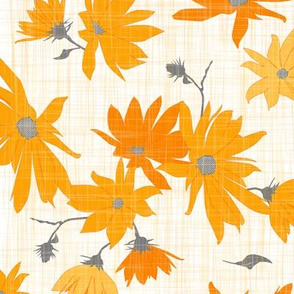 jerusalem artichoke floral orange/grey on linen texture - large