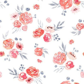 Watercolor Peach Floral V001