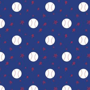 Baseballs and stars - blue