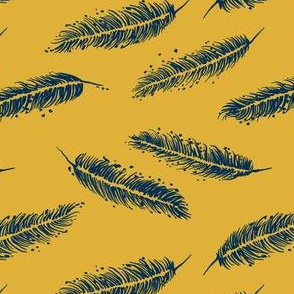 Feathers on Goldenrod